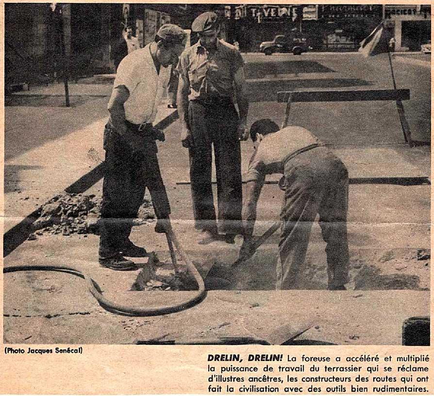découpure de journal de Desormiers Excavation en 1957